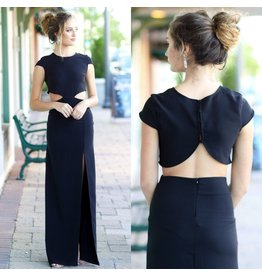 Formalwear Night To Remember Backless Black Maxi Dress