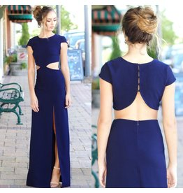 Dresses 22 Night To Remember Backless Navy Dress