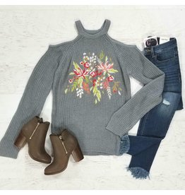 Tops 66 Count On It Embroidered Grey Sweater