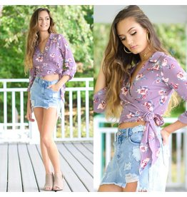 Tops 66 Floral Fever Dusty Purple Top