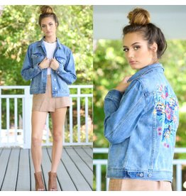 Outerwear Live In The Moment Denim Embroidered Jacket