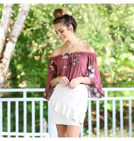 Tops 66 Fall Floral And Off Shoulder Mauve Top