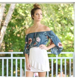Tops 66 Fall Floral And Off Shoulder Teal Top