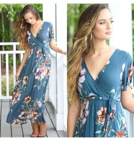 Dresses 22 Fall Forward Teal Floral Maxi Dress