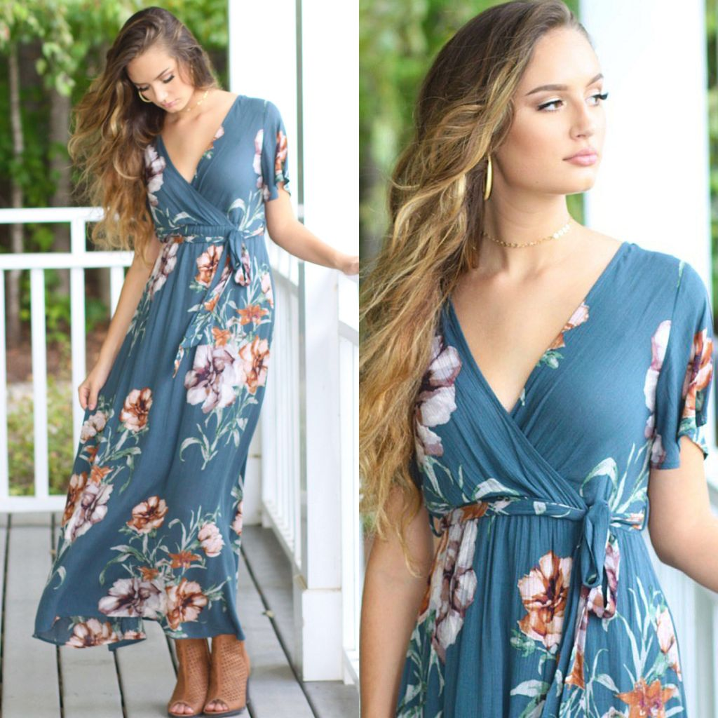 Dresses 22 Fall Forward Teal Floral Maxi Dress