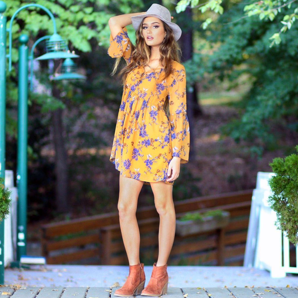 Dresses 22 Fall Floral Chiffon Dress