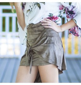 Skirts 62 Suede Knot Front Olive Skirt