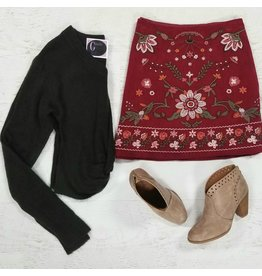 Skirts 62 Autumn Chill Embroidered Corduroy Skirt