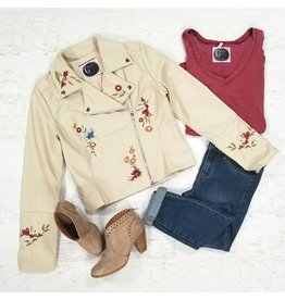 Outerwear Embroidered Cream Bomber