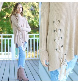 Tops 66 All About The Details Lace Up Sweater