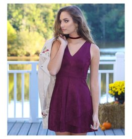 Dresses 22 Fit and Flare Fall Plum Suede Dress