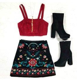 Skirts 62 Autumn Chill Black Embroidered Corduroy Skirt