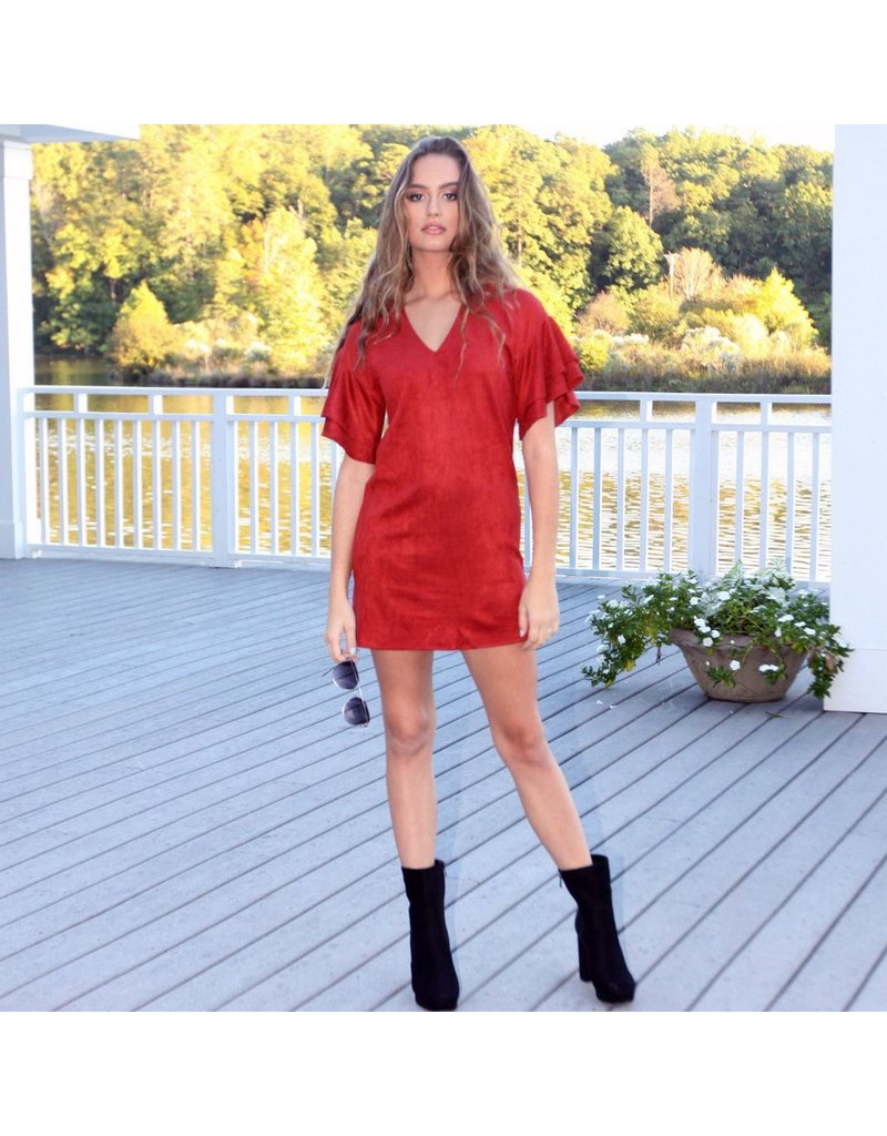 Dresses 22 Autumn Suede Ruffle Sleeve Dress