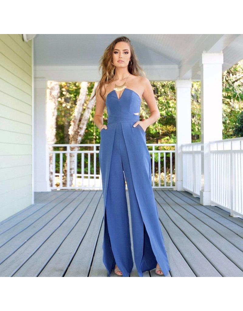 Default Best Impression Slate Blue Jumpsuit
