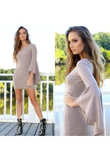 Dresses 22 Fall Occasion Taupe One Shoulder Dress