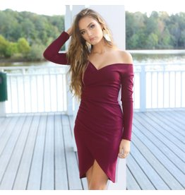 Dresses 22 Late Nighter Off Shoulder Burgundy Dress