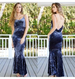 Dresses 22 Velvet Romance Plunging Back Smoky Blue Dress