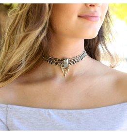 Jewelry 34 Grey Beaded Choker w/Oval Stone