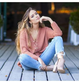 Tops 66 Autumn Maple Lace Up Sweater