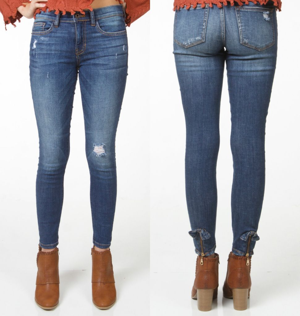 Pants 46 Ankle Back Detail Medium Denim