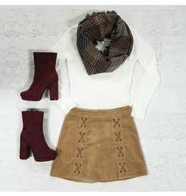 Skirts 62 Lace Up Beige Corduroy Skirt