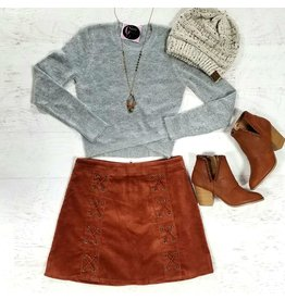 Skirts 62 Lace Up Rust Corduroy Skirt