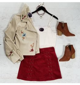 Skirts 62 Lace Up Cranberry Corduroy Skirt