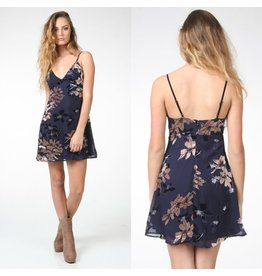 Dresses 22 Burn Out Navy Floral Velvet Dress