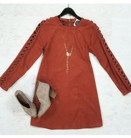Dresses 22 Suede and Braided Sleeve Rust Dress