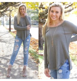 Tops 66 Weekend Casual Olive Waffle Textured Top