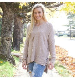 Tops 66 Toffee Time Lace Up Sweater