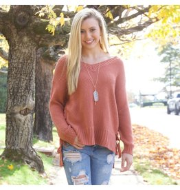 Tops 66 Pumpkin Spice Lace Up Sweater
