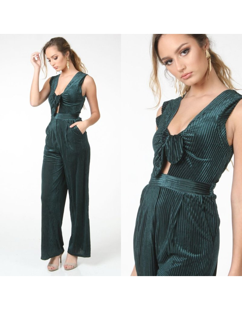 Jumpsuit Holiday Glam Velvet Shaded Spruce Jumpsuit