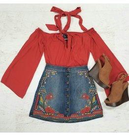 Skirts 62 Fall Embroidery Denim Skirt