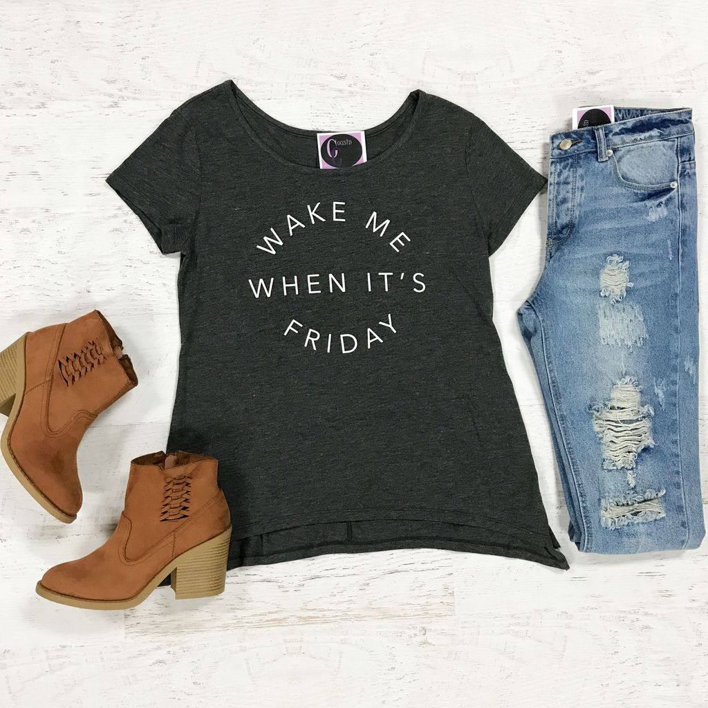 Tops 66 Wake Me When It's Friday Graphic Tee