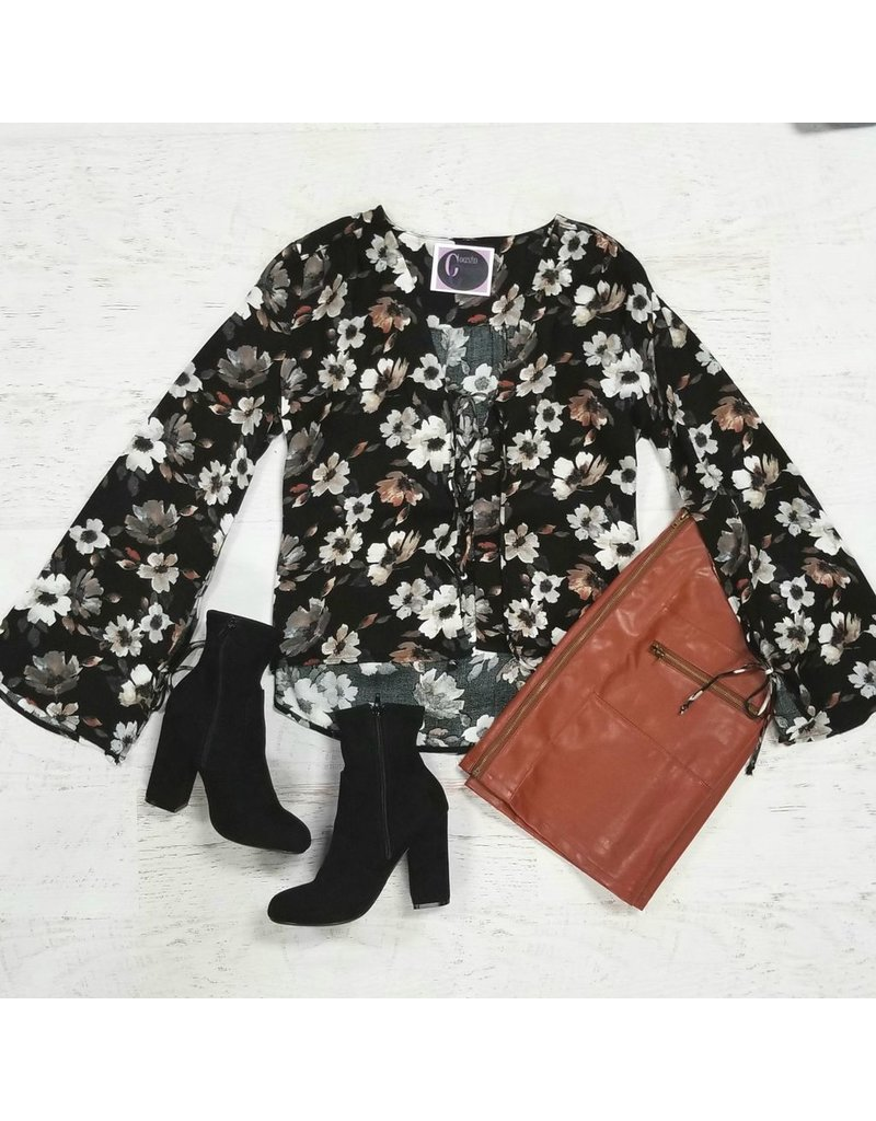 Tops 66 Living Out Loud Black Floral Top