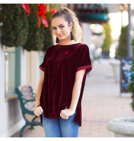 Tops 66 Crushed It Burgundy Top