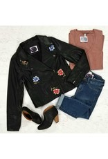 Outerwear Embroidered Black Bomber