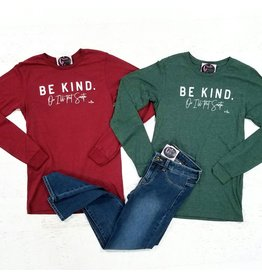 Tops 66 Be Kind Or Ill Text Santa Cranberry Long Sleeve Tee Shirt