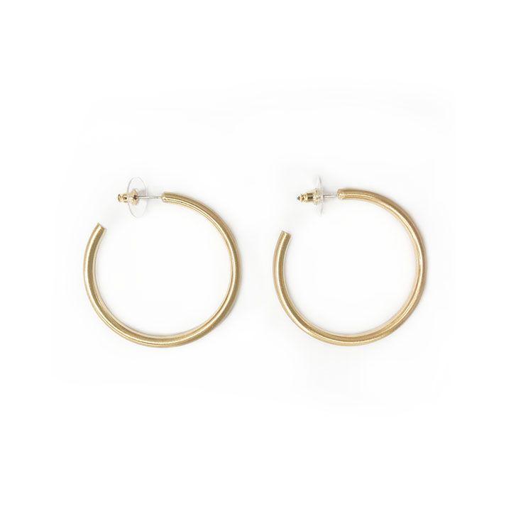 Jewelry 34 Medium Satin Gold Hoops