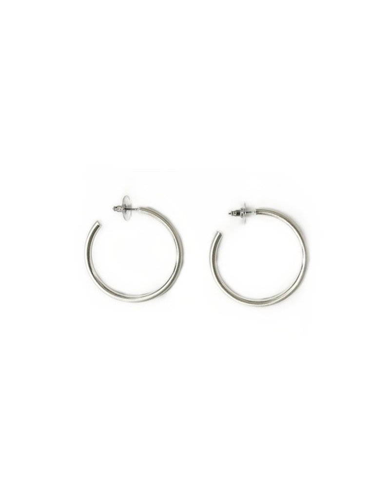 Jewelry 34 Small Satin Silver Hoops