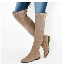 Shoes 54 Over the Knee Flat Heeled Taupe Boots