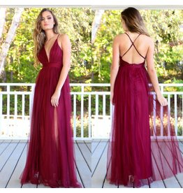 Dresses 22 Swept Away Burgundy Tulle Maxi