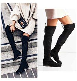 Shoes 54 Over The Knee Black Flat Heel Boot