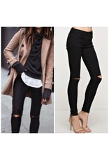 Pants 46 Ripped Knee Black Denim Jeans