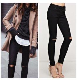 Pants 46 Ripped Knee Black Denim Jeans