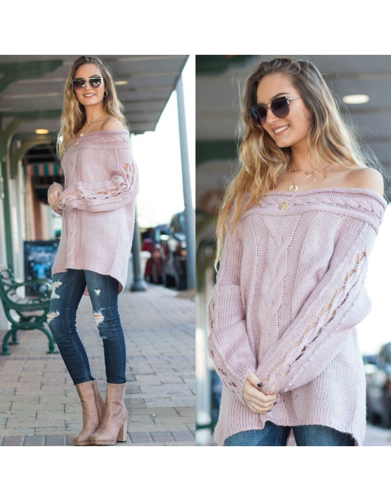 Tops 66 Off Shoulder Braided Sweater