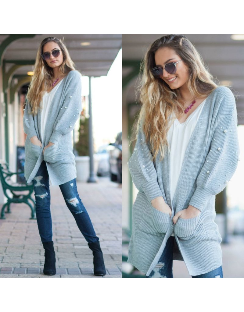 Tops 66 Pearl Embellished Winter Grey Cardigan