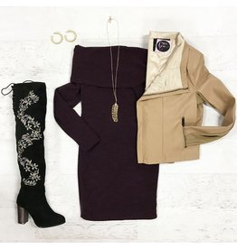 Dresses 22 Sweater Weather Off Shoulder Purple Dress