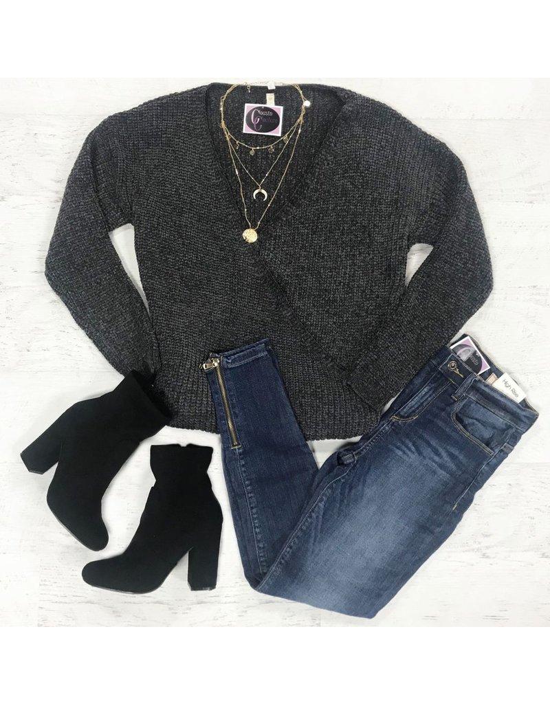 Tops 66 Chenille Grey Winter Sweater